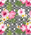 Anti-Pill Fleece Fabric 58\u0022-Bw Geo Pink Hibiscus