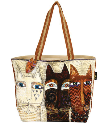 Laurel Burch Shoulder Tote 19''x4''x15''-Ancestral Cats