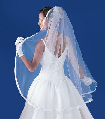 """Wilton® 5/8"""" Ribbon Edged Bridal Veil-White"""