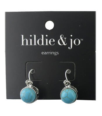 hildie & jo™ Silver Earrings-Turquoise Stone with Gray Crackle