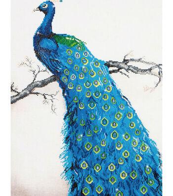 "Diamond Embroidery Facet Art Kit 25.2""X34.5""-Blue Peacock"