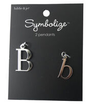 hildie & jo™ 2 Pack Letter 'B' Upper & Lower Case Silver Pendants, , hi-res