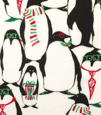 "Doodles Christmas Interlock Cotton Fabric 57""-Penguins In Glasses"