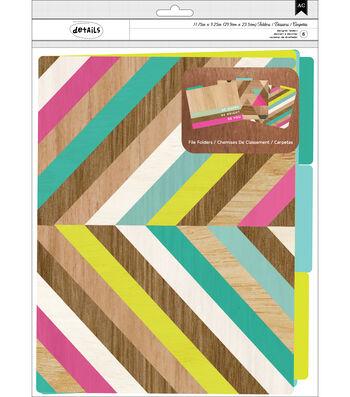 American Crafts™ Details Pack of 6 File Folder-Color Block