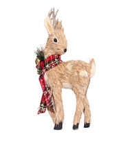 Blooming Holiday Christmas Standing Deer with Plaid Scarf-Brown & Red, , hi-res