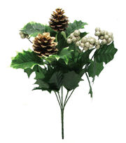 Blooming Holiday 14'' Berry, Holly Leaves & Pinecone Spray-Cream & Gold, , hi-res