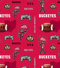 Ohio State University Buckeyes Fleece Fabric 60\u0027\u0027-Red
