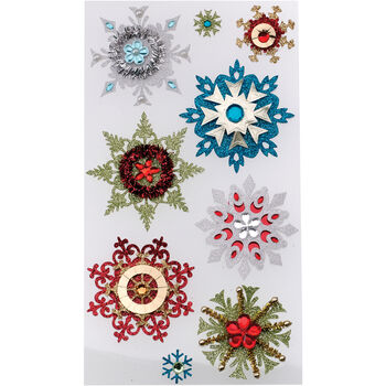 Jolee's Christmas Stickers Embellished Snowflakes