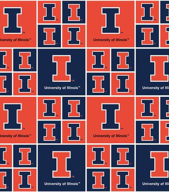 """University of Illinois Fighting Illini Cotton Fabric 43""""-Block"""
