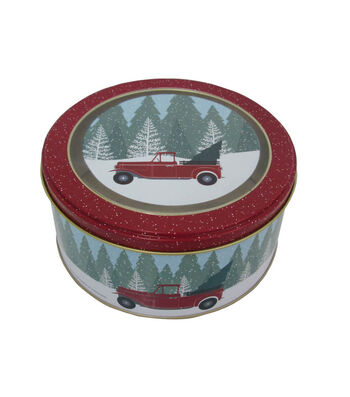 Maker's Holiday Christmas Small Round Clear Top Cookie Tin-Truck