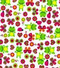 Snuggle Flannel Print Fabric 41\u0027\u0027-Froggies & Butterflies