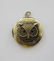 hildie & jo™ Antiquist Locket with Owl Antique Gold Pendant, , hi-res