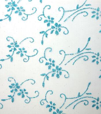 "Glitterbug Sheer Fabric 59""-Floral Glitter"