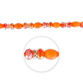 "Blue Moon Beads 7"" Crystal Strand, Cat's Eye with Metal Spacers, Orange"