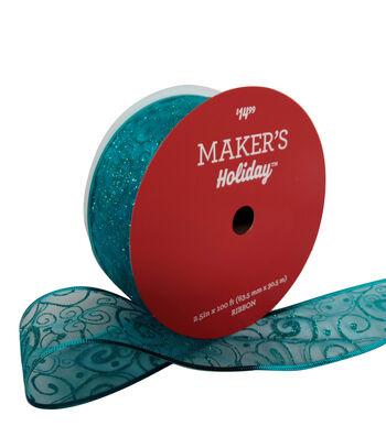 Maker's Holiday Christmas Value Ribbon 2.5''x100'-Blue Glitter Swirl