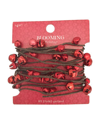 Blooming Holiday Christmas 9' Bell Roping Garland-Red