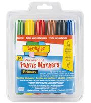 Dual Tip Permanent Fabric Markers 6/Pkg-Primary, , hi-res