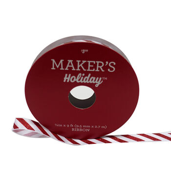 Maker's Holiday Christmas Ribbon 3/8''X9'-Candy Cane Stripe