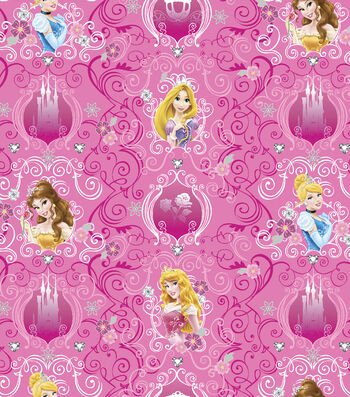 Disney® Princess Satin Fabric 57''-Tiaras & Jewels Stripe