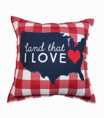 Americana Patriotic Pillow-Land That I Love