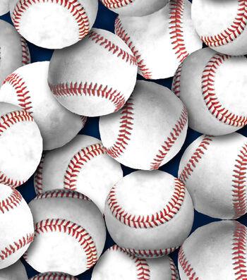 Snuggle Flannel Fabric 44''-White Baseball