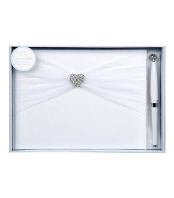 "Darice® 6""x9"" Rhinestone Heart Guest Book & Pen Set"