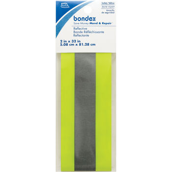 "Bondex Iron-On Fluorescent Reflective Tape 2""X32""-Yellow"