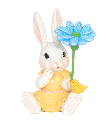 Easter Littles Resin Bunny with Flower