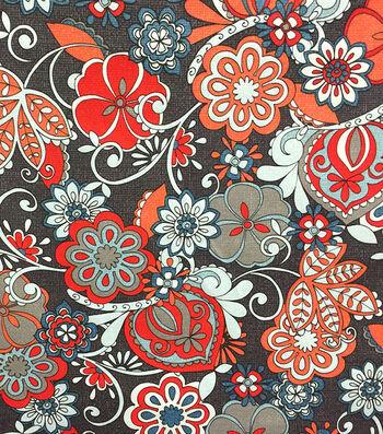 Outdoor Fabric-Floral Orange Gray
