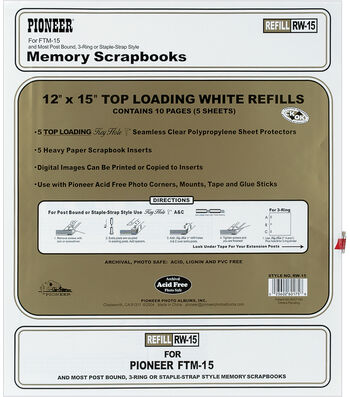 """Pioneer Top Load 12""""x 15"""" Page Protectors & Inserts"""
