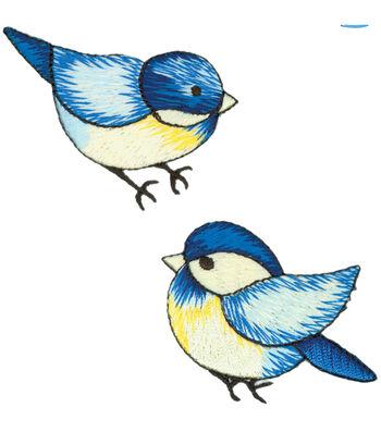 "Wrights® Iron-On Appliques-Blue Birds 1-3/4""X2-1/4"" 2/Pkg"