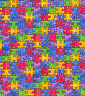Novelty Cotton Fabric 44\u0022-Multi Color Puzzle Pieces
