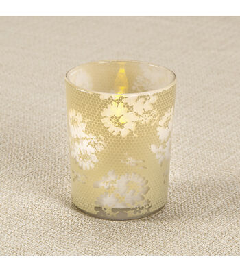 Glass Votive - Lace Honeycomb Design, Beige