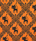 Doodles Halloween Interlock Cotton Fabric 57\u0022-Black Cat Scroll