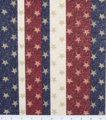 Holiday Inspirations Glitter Cotton Fabric 44''-Stars on Stripes