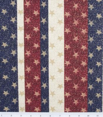"Holiday Cotton Fabric 44""-Glitter Stars on Stripes"