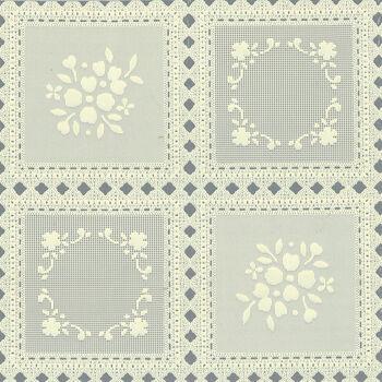 """Tablecloth Vinyl 54""""-Squares Ecru"""