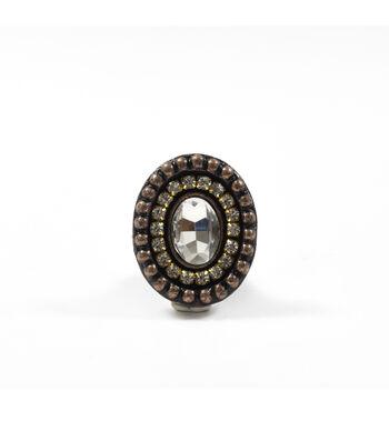 Dritz Home Cast Iron Rhinestone Oval Knob-Bronze