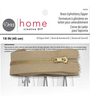 """Brass Upholstery Zipper 18"""" 1/Pkg-Beige"""