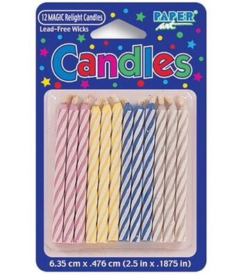 "Magic Relight 2-1/2"" Birthday Candles-12PK"
