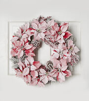 Blooming Holiday 24'' Snow Poinsettias & Pinecone On Grapevine Wreath, , hi-res
