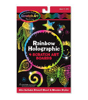 "Melissa & Doug Scratch Art Board Set 6""X10"" 4/Pkg-Rainbow Holographic, , hi-res"