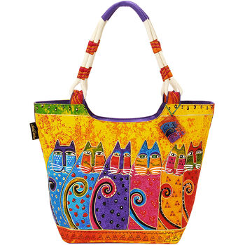 "Laurel Burch Scoop Tote Zipper Top 19""x5""x13.5""-Feline Tribe"