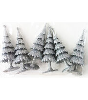 Maker's Holiday Christmas Littles 6 pk Plastic Trees-Silver, , hi-res