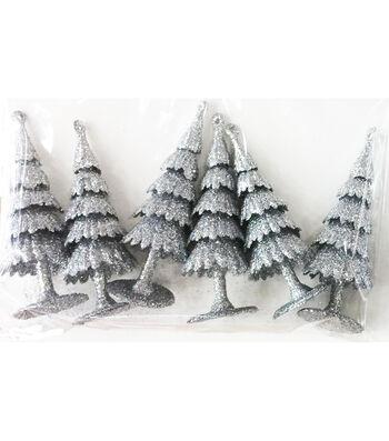 Maker's Holiday Christmas Littles 6 pk Plastic Trees-Silver