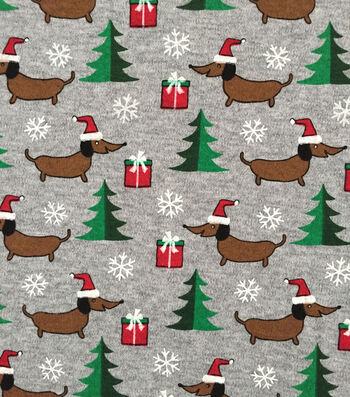 "Doodles Christmas Interlock Cotton Fabric 57""-Doxin Holiday"