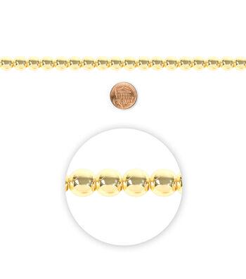 "Blue Moon Beads 7"" Strand Metal Bead 10mm Gold"