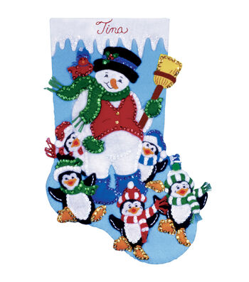 "Penguin Party Stocking Felt Applique Kit-16"" Long"