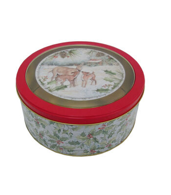 Maker's Holiday Christmas Medium Round Clear Top Cookie Container-Deer