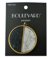 hildie & jo™ 1.75''x1.75'' Circle Gold Pendant-White & Black Stone, , hi-res